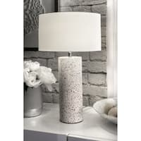 "Watch Hill Contemporary 20"" Valentina Concrete & Marble Cotton Shade Table Lamp"