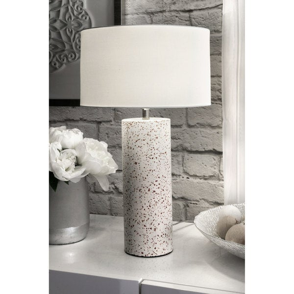 """Watch Hill Contemporary 20"""" Valentina Concrete & Marble Cotton Shade Table Lamp - 20"""" h x 12"""" w x 12"""" d"""