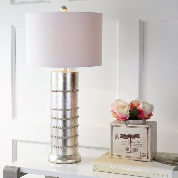 "Evelyn 31"" Resin LED Table Lamp, Silver"
