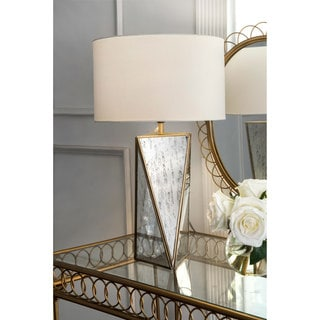 """Watch Hill Contemporary 20"""" Lauren Mirror Base Cotton Shade Table Lamp"""