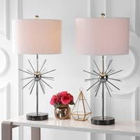 "Aria 31.5"" Metal/Marble LED Table Lamp, Chrome (Set of 2)"