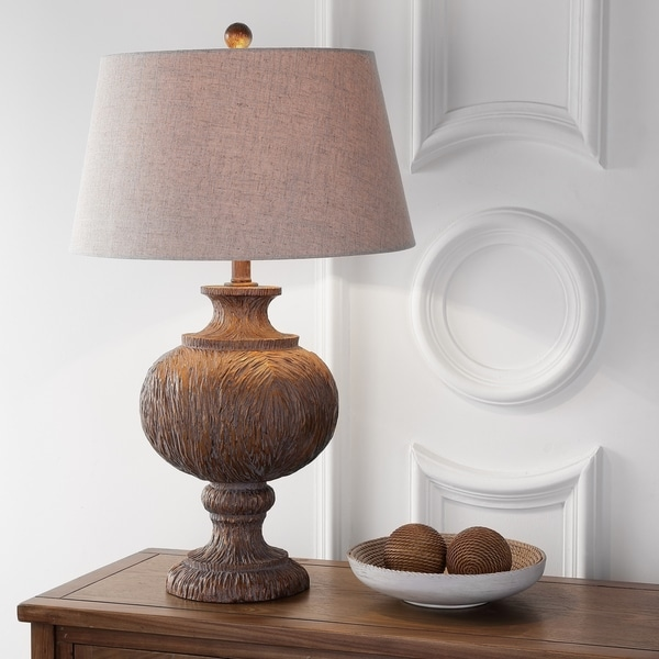 """Scarlett 31"""" Resin LED Table Lamp, Dark Brown with Gray Shade"""