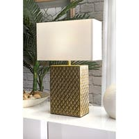 "Watch Hill Contemporary 21"" Sydney Aluminum Brass Finish Base Cotton Shade Table Lamp"