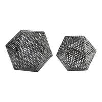 Uttermost Kimora Dark Aged Bronze Iron Icosahedrons 2-piece Decor Set