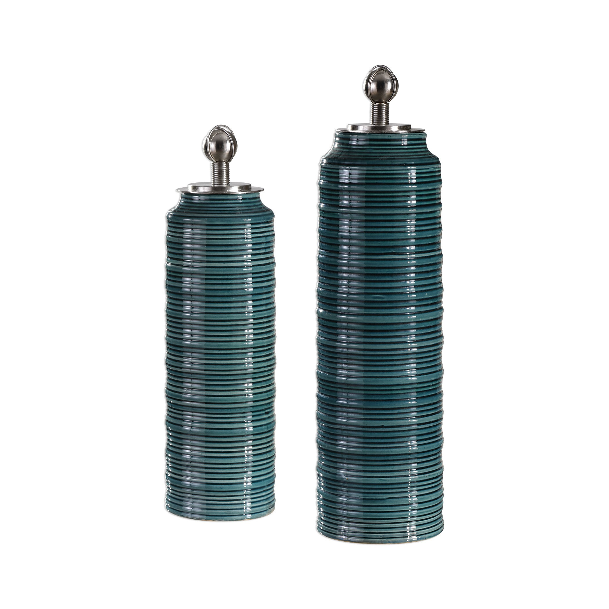Uttermost Delane Dark Teal Canisters (Set of 2) (Green)