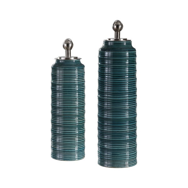 Uttermost Delane Dark Teal Canisters (Set of 2)