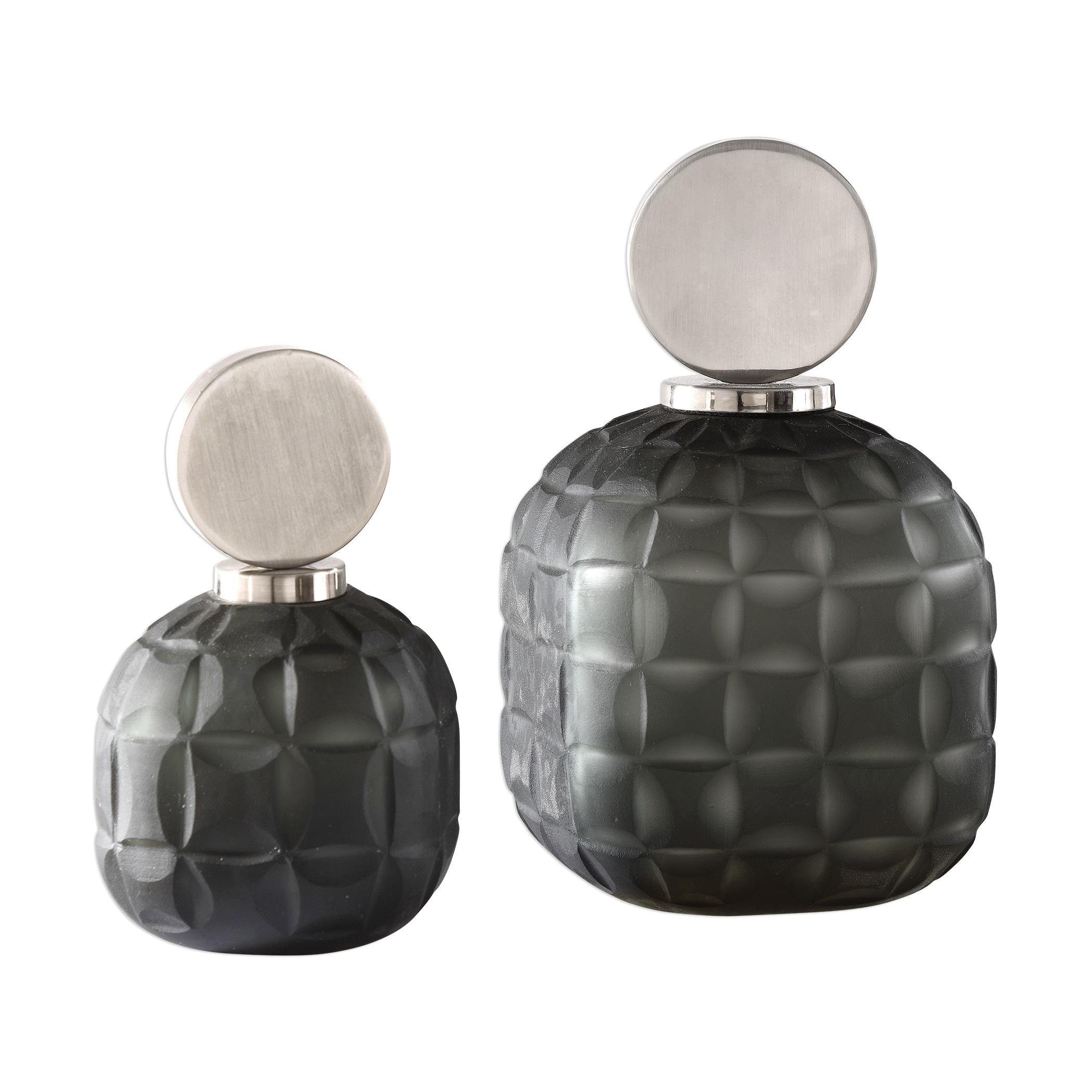 UTTERMOST Nafuna Charcoal Glass Metal Bottles (Set of 2) ...