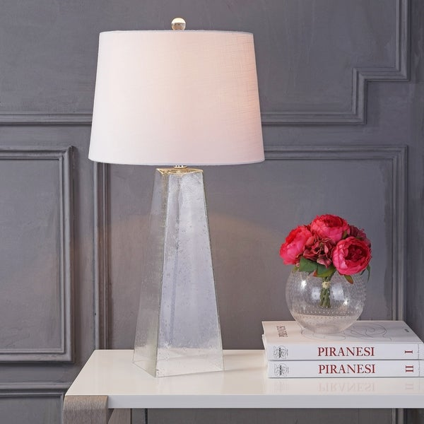 """Dylan 28.5"""" Glass LED Table Lamp, Clear"""