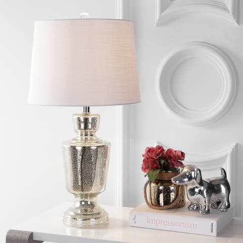 "Olivia 26.5"" Glass LED Table Lamp, Silver/Ivory by JONATHAN Y"
