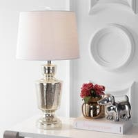 "Olivia 26.5"" Glass LED Table Lamp, Silver/Ivory"