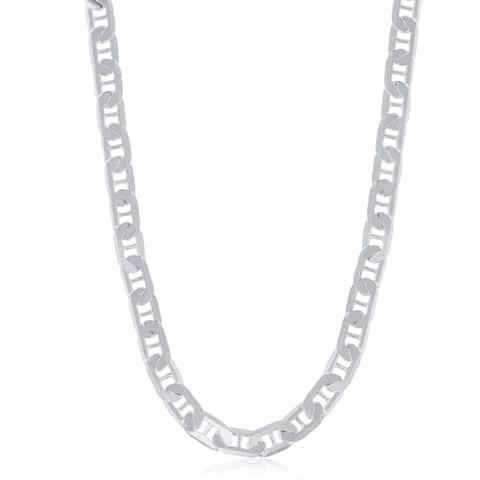 La Preciosa Sterling Silver Italian Rhodium Plated 140 5.8mm Flat Marina Chain