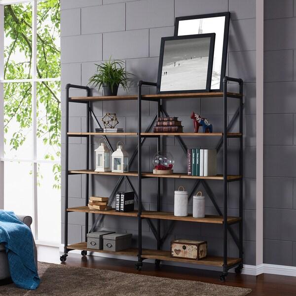 Handy Living Breckenridge Reclaimed Wood And Metal 5 Shelf Bookshelf With Casters