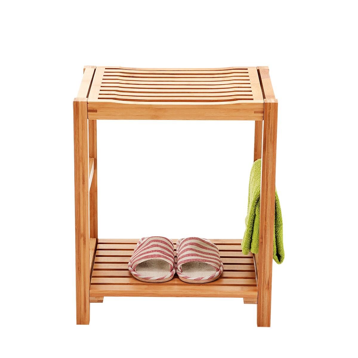 Newridge Home Natural Bamboo Shower Bench Seat Shaving Stool Spa Bath With Storage Shelf