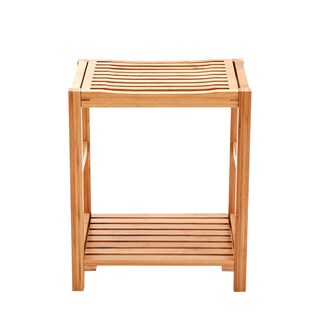 NewRidge Home Natural Bamboo Shower Bench Seat, Shaving Stool, Spa Bath Bench with Storage Shelf