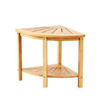 NewRidge Home Natural Bamboo Corner Shower Bench