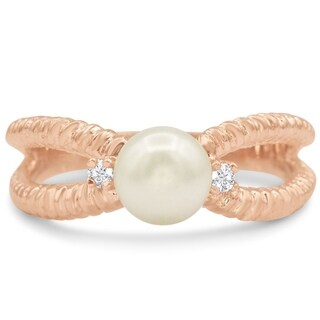 Round Freshwater Cultured Pearl and Diamond Split Shank Ring In 14 Karat Rose Gold - White