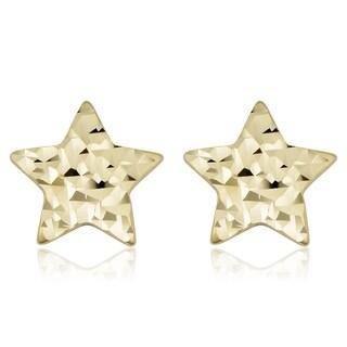 Fremada 14k Yellow Gold Diamond-cut Star Stud Earrings