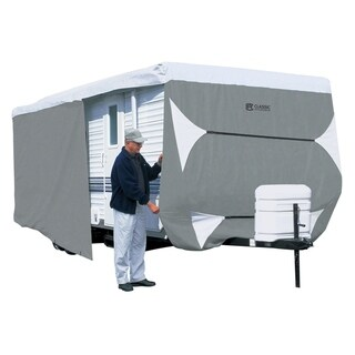 Classic Accessories OverDrive PolyPRO 3 Deluxe Travel Trailer Cover or Toy Hauler Cover, Fits 33' - 35' RVs