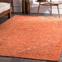nuLoom Serapi Orange Wool Handmade Medallion Area Rug - 5' x 8'