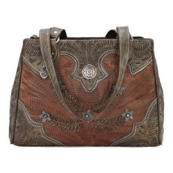 Women's American West Desert Wildflower Multi-Compartment Organizer Tote Antique Brown/Distressed Charcoal Brown/Sky Blue