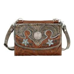 Women's American West Desert Wildflower Small Cross Body Bag/Wallet Antique Brown/DistressedCharcoal Brown/Sky Blue