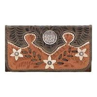 64d53693a4 Women s American West Desert Wildflower Tri-Fold Wallet Golden Tan Distressed  Charcoal Cream