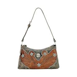 Women's American West Desert Wildflower Zip-Top Shoulder Antique Brown/DistressedCharcoal Brown/Sky Blue
