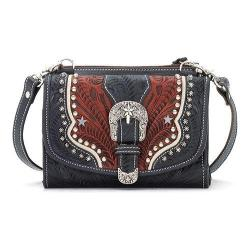 Women's American West Texas Two Step Wallet/Bag Navy Blue/Distressed Crimson/Cream