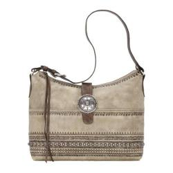 Women's American West Trading Post Large Zip-Top Shoulder Bag Sand/Distressed Charcoal Brown