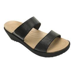 Women's Crocs A-leigh 2-strap Mini Wedge Sandal Black/Black