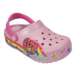 Girls' Crocs CrocsLights Rainbow Heart Clog Juniors Ballerina Pink