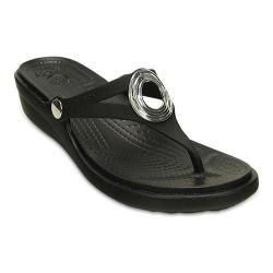 Women's Crocs Sanrah Beveled Circle Wedge Flip Flop Sandal Black/Black