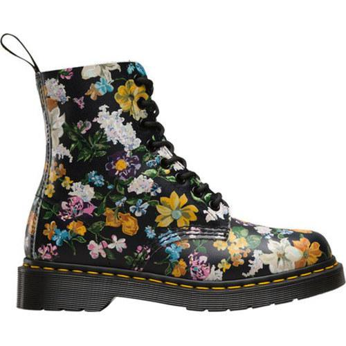 Dr. Martens Pascal 8-Eye Boot Black Darcy Floral Backhand Full Grain Leather - Thumbnail 1