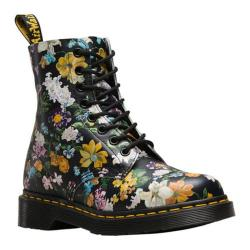 Dr. Martens Pascal 8-Eye Boot Black Darcy Floral Backhand Full Grain Leather