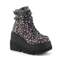 Women's Demonia Shaker 52ST Lace-Up Platform Wedge Ankle Boot Floral Fabric