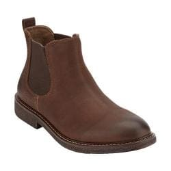 Men's Dockers Stanwell Plain Toe Chelsea Boot Chocolate Oily Tumbled Full Grain
