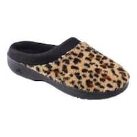 Women's Isotoner Microterry Hoodback with Satin Trim Cheetah