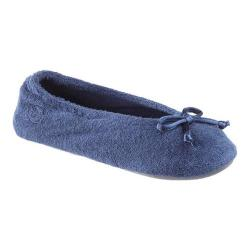 Women's Isotoner Terry Ballet Flat w/ Satin Bow Navy