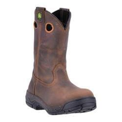 Men's John Deere Boots 11in Pull-On Aluminum Alloy Toe Work Boot 4942 Dark Coffee Leather
