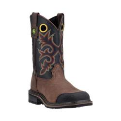 Men's John Deere Boots 11in Pull-On Soft Toe Western Work Boot 4711 Tan Leather