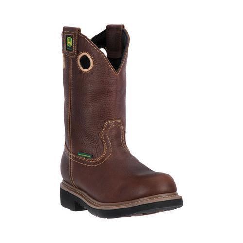 Men's John Deere Boots 11in Waterproof Steel Toe Pull-On Work Boot 4385 Toasted Wheat Full Grain Leather