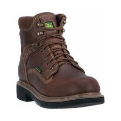 Men's John Deere Boots 6in Waterproof Steel Toe Lace-Up Work Boot 6385 Toasted Wheat Full Grain Leather