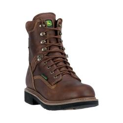 Men's John Deere Boots 8in Waterproof Lace-Up Work Boot 8285 Toasted Wheat Full Grain Leather