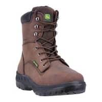 Men's John Deere Boots WCT 8in Waterproof Steel Toe Work Boot 8604 Brown Waterproof Leather