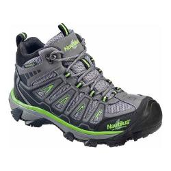 Men's Nautilus N2202 Steel Toe Waterproof EH Hiking Boot Grey/Lime Mesh/Action Nubuck Leather
