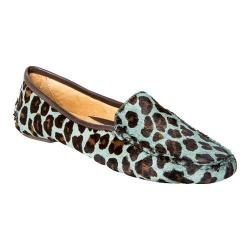 Women's Patricia Green Jillian Driving Moccasin Teal Blue Leopard Pony Hair