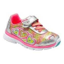 Girls' Stride Rite Joy Lighted Sneaker - Kid Silver/Pink Leather/Sparkle