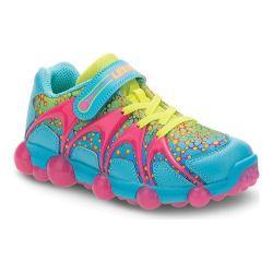Girls' Stride Rite Leepz Light Up Sneaker Blue/Citron Leather/Mesh