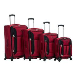 Rockland 4 Piece Impact Spinner Luggage Set F155 Red