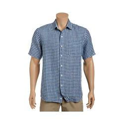 Men's Tommy Bahama Check Stamos Short Sleeve Button Down Shirt Bering Blue - Thumbnail 0
